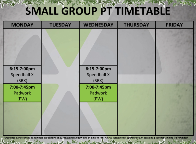 Small Group PT Timetable v3.0