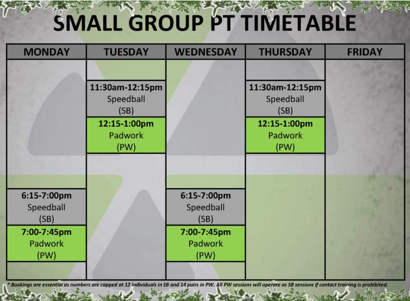 Small Group PT Timetable v4.1